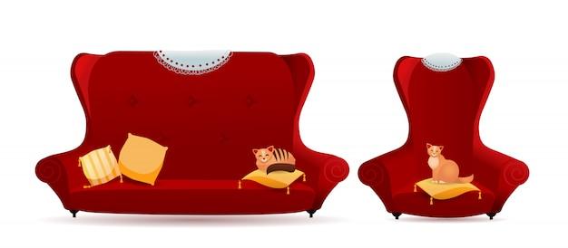 Conjunto de sillón rojo con sofá y gatos.