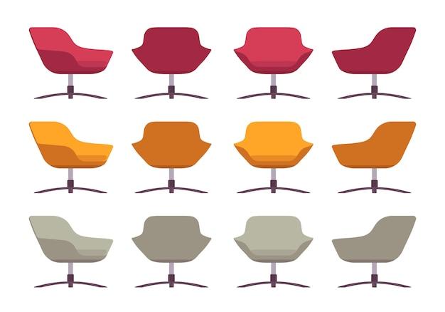 Conjunto de sillones retro, carmesí, naranja y gris.