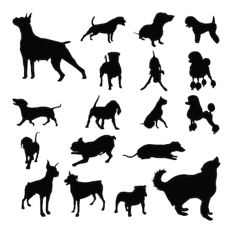 Conjunto de silueta aislada de perro mascota