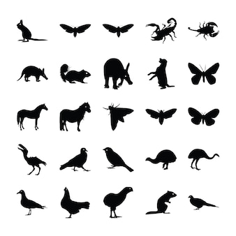 Conjunto de silueta de animales