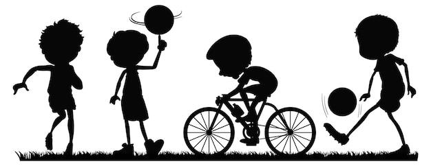 Conjunto de silueta de atletas deportivos