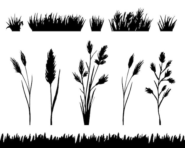 Conjunto de silueta de borde de hierba aislado en vector de fondo blanco