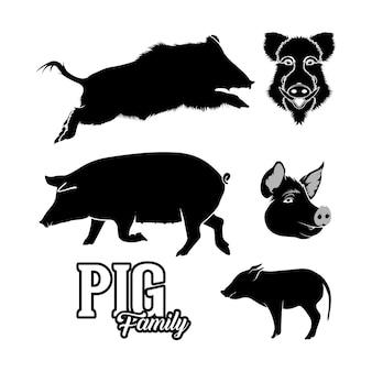 Conjunto silueta cerdo jabalí cerdo diseño vectorial inspirasi