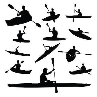 Conjunto de silueta de deporte acuático de kayak