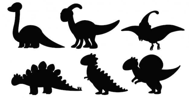 Conjunto de silueta de dinosaurio.