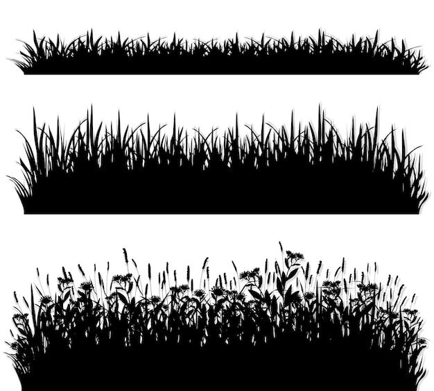 Conjunto de silueta de fronteras de hierba