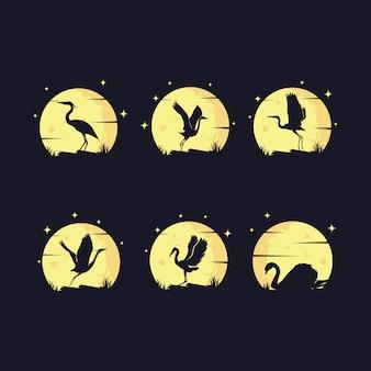 Conjunto de silueta de garza con logotipo de luna