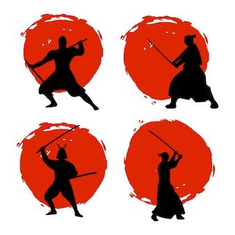 Conjunto de silueta de guerreros samurai en luna roja