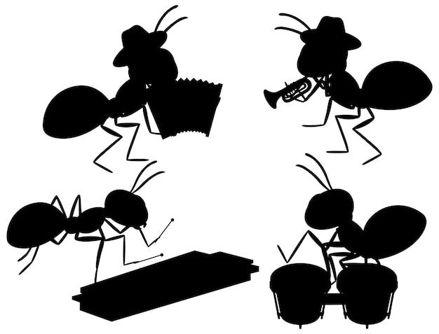 Conjunto de silueta de hormigas