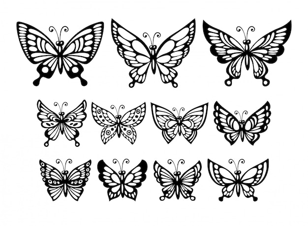 Conjunto de silueta de mariposas maravillosas.