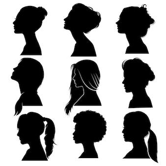 Conjunto de silueta de perfil de mujer de cabello hermoso y detallado