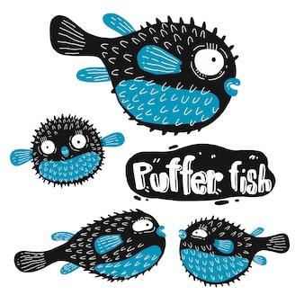 Conjunto de silueta de pez globo