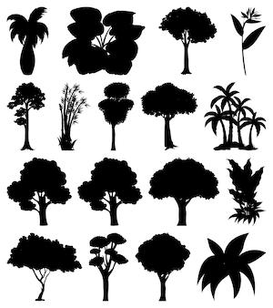 Conjunto de silueta de planta y árbol.