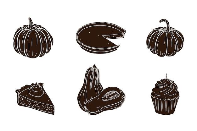 Conjunto de silueta de platos de calabaza de acción de gracias. colección tradicional de sombras de alimentos de vacaciones de otoño para decoración de pegatinas, invitaciones, menús y tarjetas de felicitación. vector premium