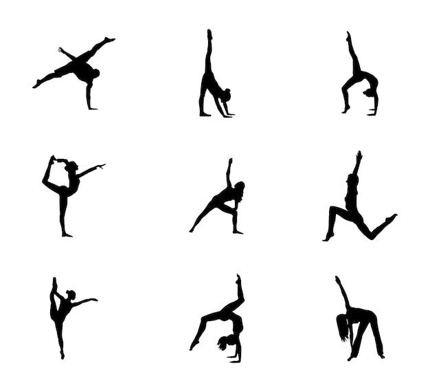 Conjunto de silueta de poses de gimnasia fácil