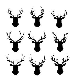 Conjunto de silueta de renos con cuernos.