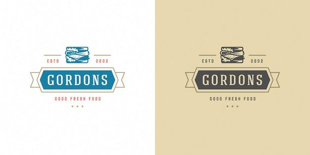 Conjunto de silueta de sándwich de ilustración de logotipo de comida rápida