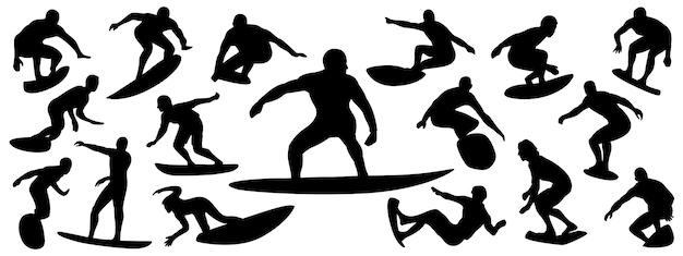 Conjunto de silueta de surfista