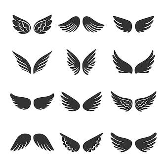 Conjunto de siluetas de alas de ángeles