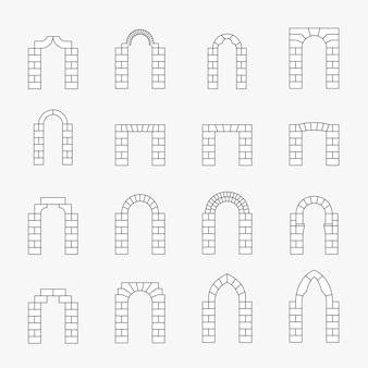Conjunto de siluetas de arco negro.