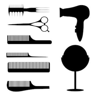 Conjunto de siluetas de artículos para salones de belleza, salones de belleza