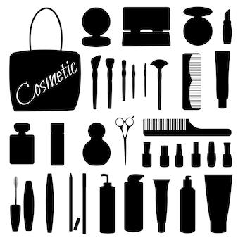 Conjunto de siluetas de artículos para salones de belleza.