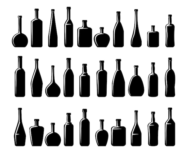 Conjunto de siluetas de botellas de vino y botellas de cerveza