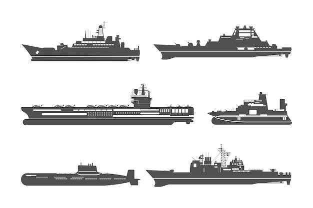 Conjunto de siluetas de buques de guerra.