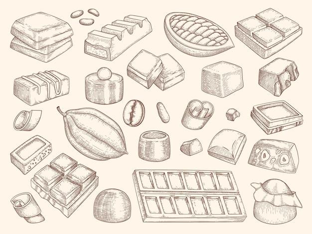 Conjunto de siluetas de chocolate