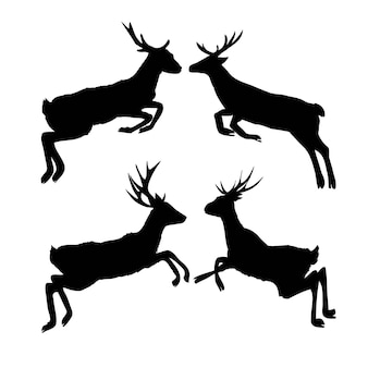 Conjunto de siluetas de ciervo