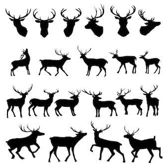 Conjunto de siluetas de ciervos
