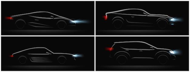 Conjunto de siluetas de coches realistas oscuros de cuatro perfiles con diferentes carrocerías y luces brillantes ilustración vectorial