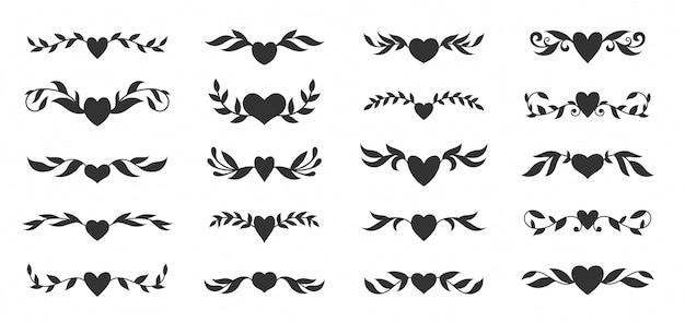 Conjunto de siluetas de corazón con adornos florales