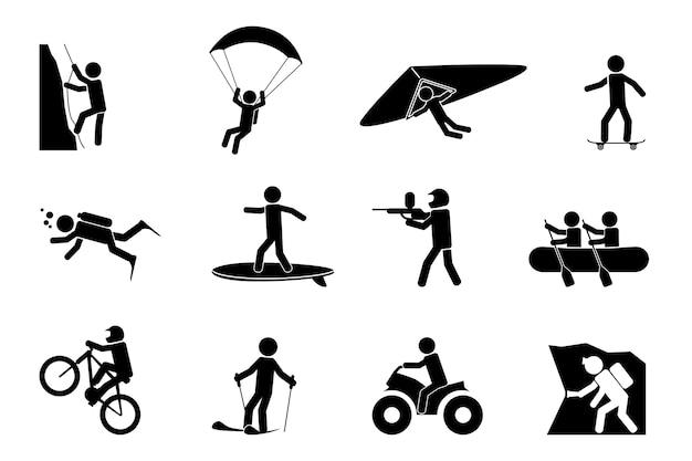 Conjunto de siluetas de deportes extremos o aventura.