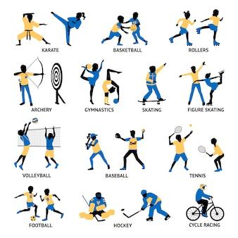 Conjunto de siluetas de deportistas