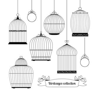 Conjunto de siluetas de diferentes formas de jaulas para pájaros.