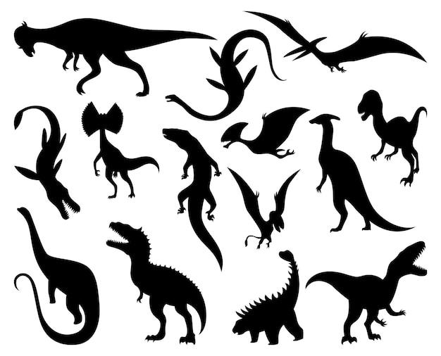Conjunto de siluetas de dinosaurios. iconos de monstruos dino. monstruos reptiles prehistóricos