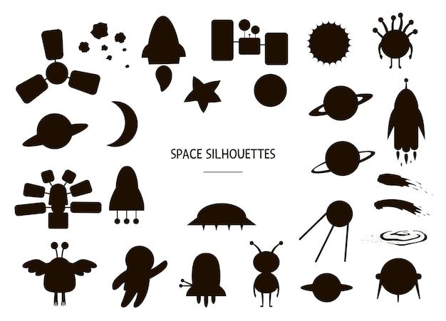Conjunto de siluetas de espacio aislado en blanco