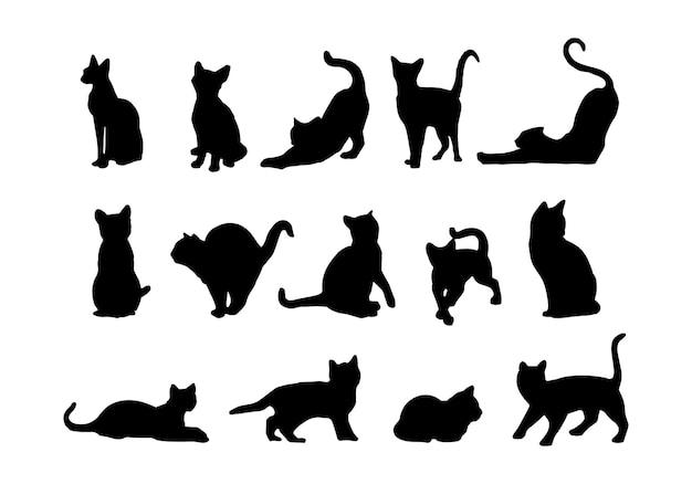 Conjunto de siluetas de gatos. gatos en diferentes poses. vector de fondo aislado. eps 10.