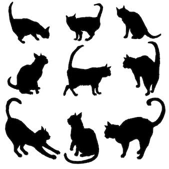 Conjunto de siluetas de gatos