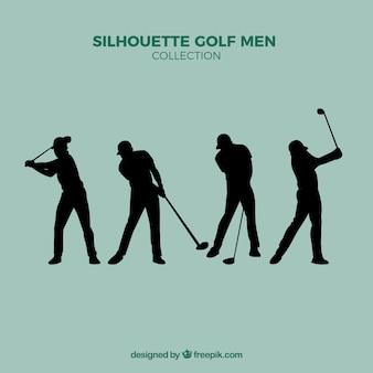 Conjunto de siluetas de golf de hombres