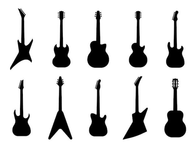 Conjunto de siluetas de guitarra