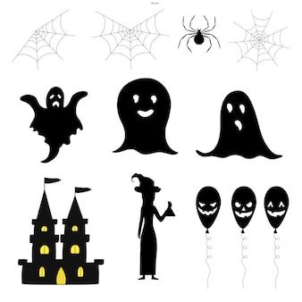 Conjunto de siluetas de halloween con atributos tradicionales sobre fondo blanco. estilo de dibujos animados. vector.
