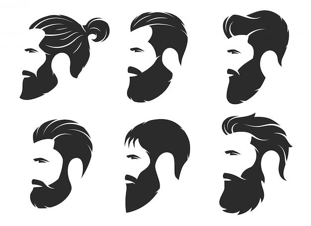 Conjunto de siluetas de hombres barbudos, estilo hipster. barbería
