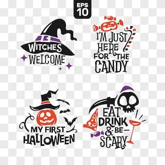 Conjunto de siluetas iconos de halloween con cita para decoración de fiesta y pegatina de corte