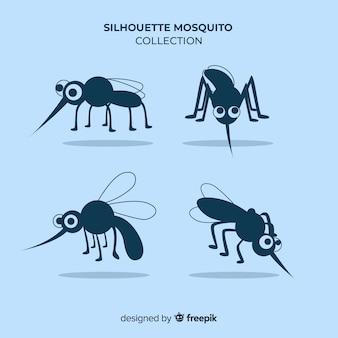 Conjunto de siluetas de mosquitos en estilo flat