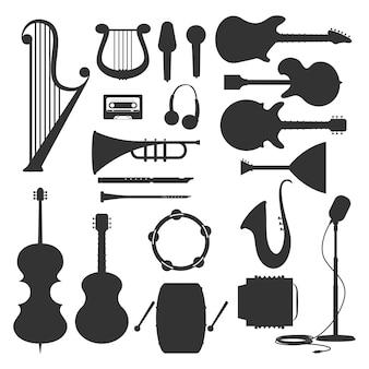 Conjunto de siluetas negras de instrumentos musicales aislado