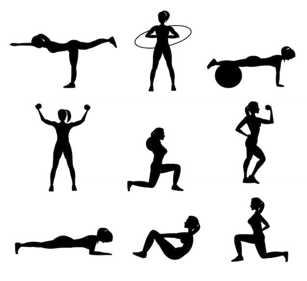 Conjunto de siluetas planas de fitness para mujer