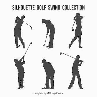 Conjunto de siluetas de swings de golf