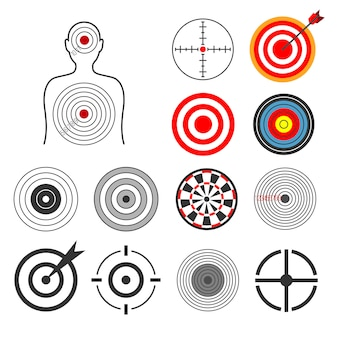 Conjunto de siluetas de tiro blanco